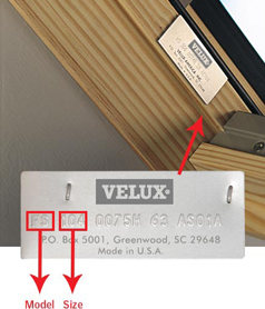 Velux serial number location, skylight, suntunnel, roof windows.