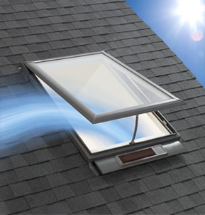 VELUX Solar Powered 'Fresh Air' Skylight on roof